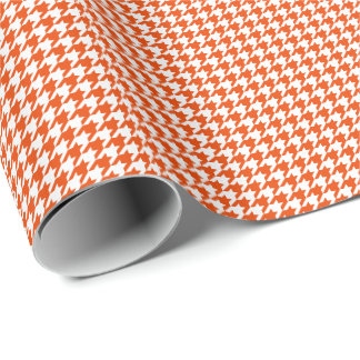 Papier Cadeau Petit pied-de-poule orange et blanc