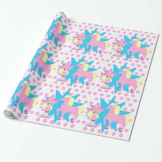 Papier Cadeau Petite blonde de cow-girl avec le cheval rose tout