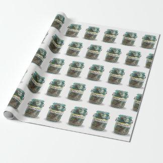 Papier Cadeau pièces de monnaie de retraite dans le pot de maçon