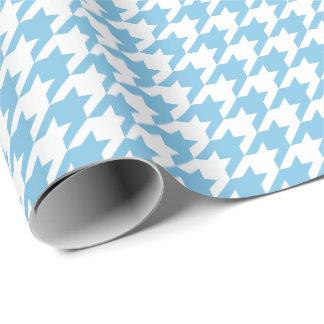 Papier Cadeau Pied-de-poule bleu-clair et blanc moyen