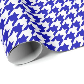 Papier Cadeau Pied-de-poule moyen de bleu royal et de blanc