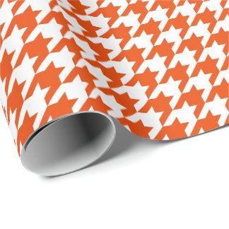 Papier Cadeau Pied-de-poule orange et blanc moyen