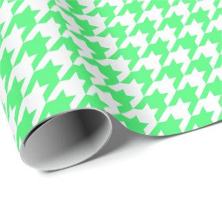 Papier Cadeau Pied-de-poule vert clair et blanc moyen