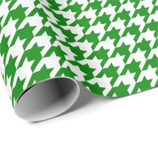 Papier Cadeau Pied-de-poule vert et blanc moyen