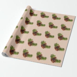 Papier Cadeau Pinecones rustique et branches