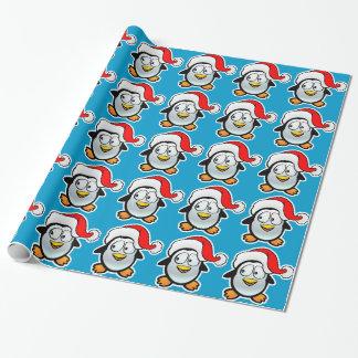 Papier Cadeau Pingouin le père noël