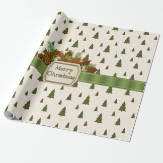 Papier Cadeau Pins avec le ruban de Joyeux Noël