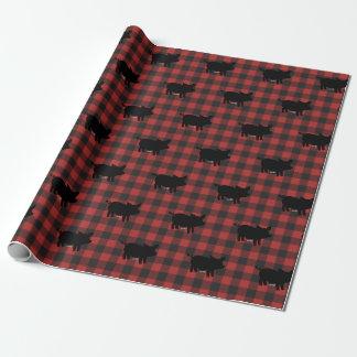 Papier Cadeau Plaid rouge de Buffalo avec des porcs