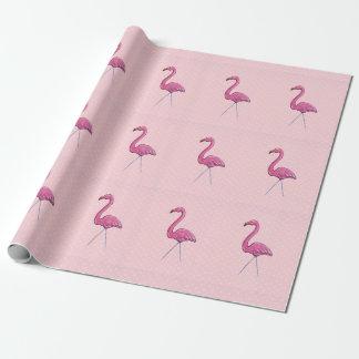 Papier Cadeau Point de polka rose de falmingo enveloppant le