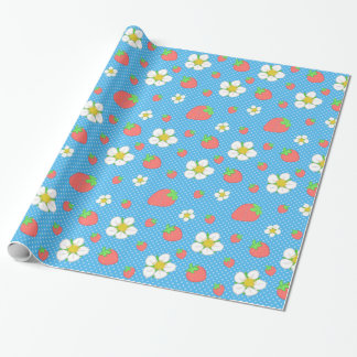 Papier Cadeau Points de fraise dans le bleu