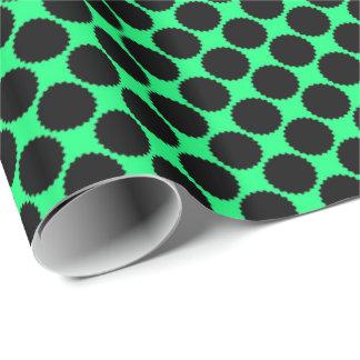 Papier Cadeau Pois noir sur le vert de kiwi