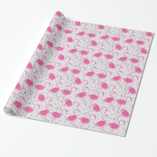 Papier Cadeau Pois rose tropical de flamant