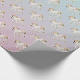Papier Cadeau Polygone coloré de licorne d'arc-en-ciel - papier