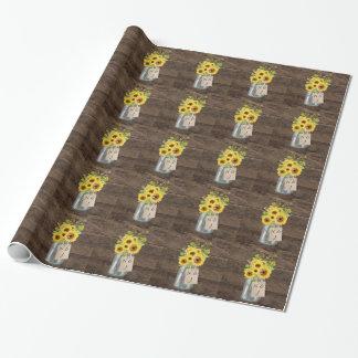 Papier Cadeau Pot de maçon rustique de tournesol de mariage de