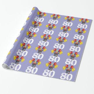 Papier Cadeau quatre-vingtième Papier gris d'emballage cadeau de