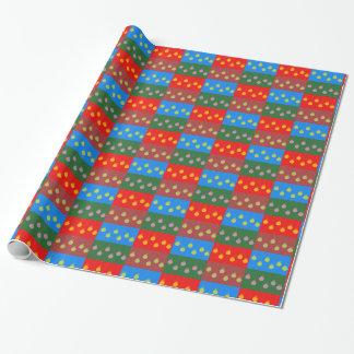 Papier Cadeau Rangées de peu de babioles multicolores de Noël