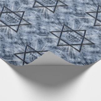 Papier Cadeau Rayons de soleil et bleu d'étoile de David de