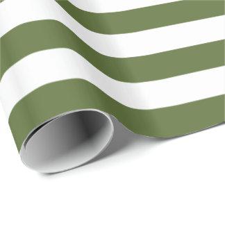 Papier Cadeau Rayure de vert/blanche olive