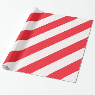 Papier Cadeau Rayures diagonales rouges et blanches de sucre de