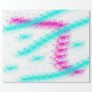 Papier Cadeau Rayures pour aquarelle turquoises roses au néon