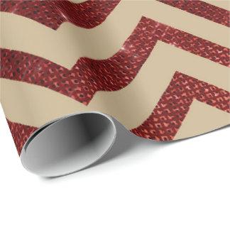 Papier Cadeau Rayures rouges d'or de Bourgogne de miel de zigzag