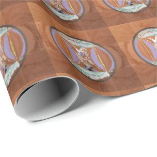 Papier Cadeau Regard ethnique dans des tons de rouille