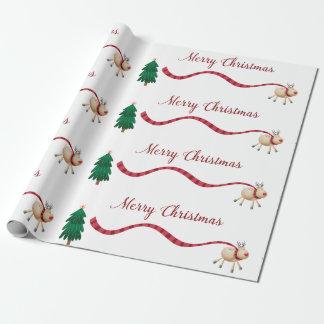 Papier Cadeau Renne de Joyeux Noël