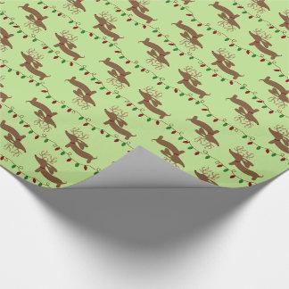 Papier Cadeau Renne de papier d'emballage de teckel de Noël