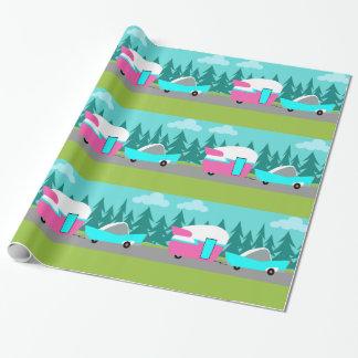 Papier Cadeau Rétro papier d'emballage de campeur/remorque et de