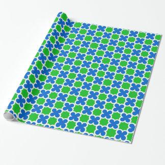 Papier Cadeau Rétro Quatrefoil bleu et vert fluorescent
