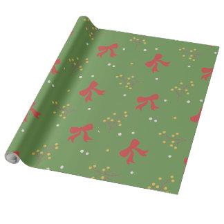 Papier Cadeau Rôle de Présent Vert de Noël Rubans Rouges