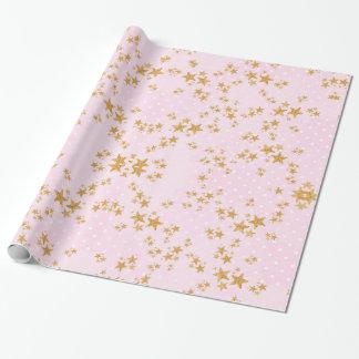 Papier Cadeau Rose et papier d'emballage d'or
