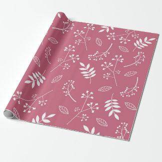 Papier Cadeau Rose foncé de verdure florale botanique de feuille