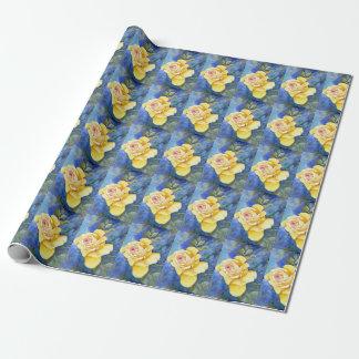 Papier Cadeau Rose jaune parfait dans l'aquarelle
