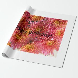 Papier Cadeau rose rose et chaud de chrysanthème