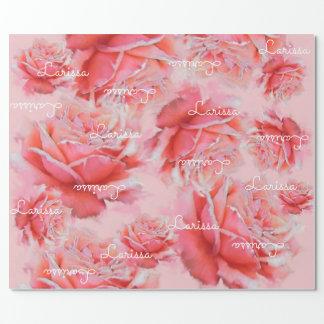 Papier Cadeau roses roses et nom, motif floral romantique