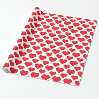 Papier Cadeau Rouge de base de motif de coeur