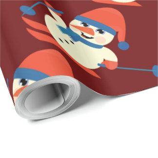 Papier Cadeau rouge de ski de bonhomme de neige rustique
