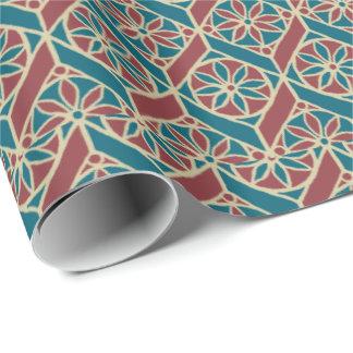 Papier Cadeau Rouge foncé, motif ethnique turquoise, fleurs,