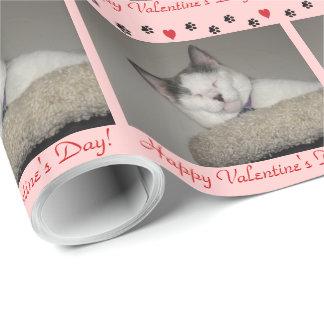 Papier Cadeau Saint-Valentin de petit somme de chat/empreinte de