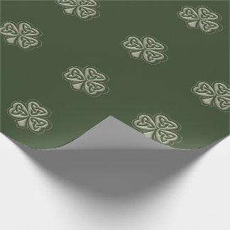Papier Cadeau Shamrock chanceux irlandais de grundge vintage