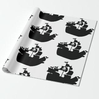 Papier Cadeau Silhouette noire de bateau de pirate