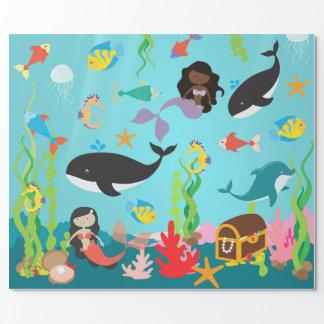 Papier Cadeau Sirènes de couleur et de la vie marine (Med. /Lg.