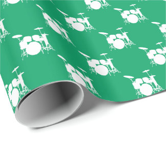 Papier Cadeau Tambour blanc de musique réglé sur le vert de