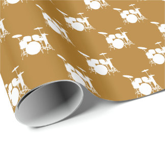 Papier Cadeau Tambour blanc de musique réglé sur l'or mat
