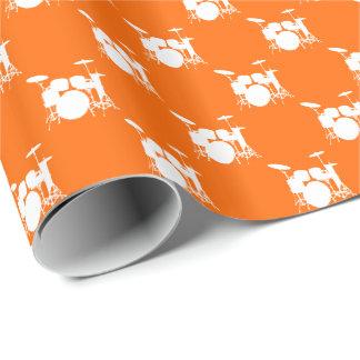 Papier Cadeau Tambour blanc de musique réglé sur l'orange
