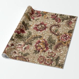 Papier Cadeau Tapisserie florale scintillante d'Earthtone