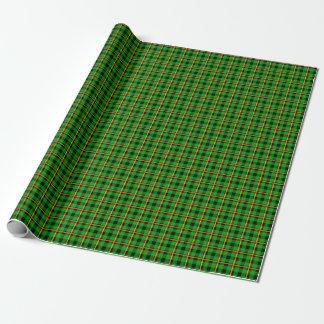 Papier Cadeau Tartan vert et orange au néon