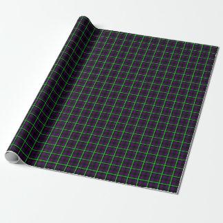 Papier Cadeau Tartan vert pourpre et au néon moyen 01