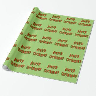 Papier Cadeau Texte moderne vert rouge de Joyeux Noël